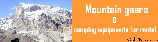 Mount Kilimanjaro outdoor gears and equipments for hiring